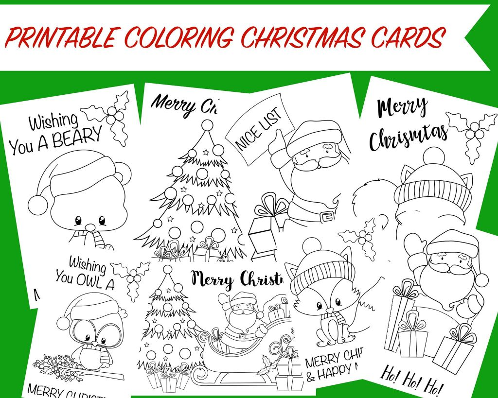 Christmas Coloring Card Printable With Cards Free Activity For Kids