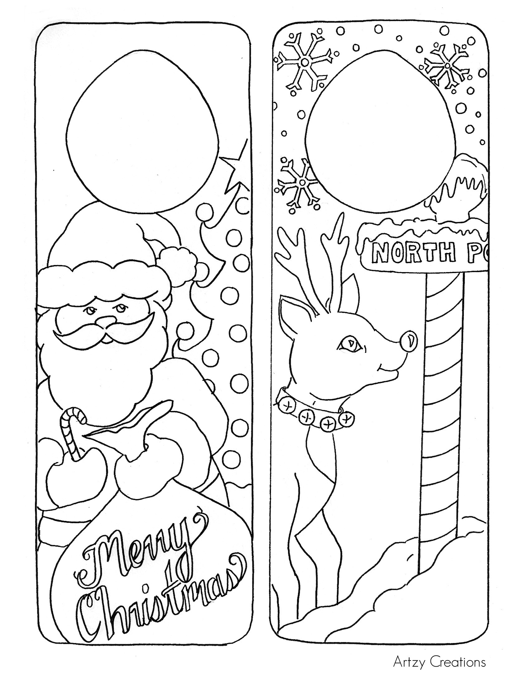 Christmas Coloring Card Printable With Colour In Page For Kids