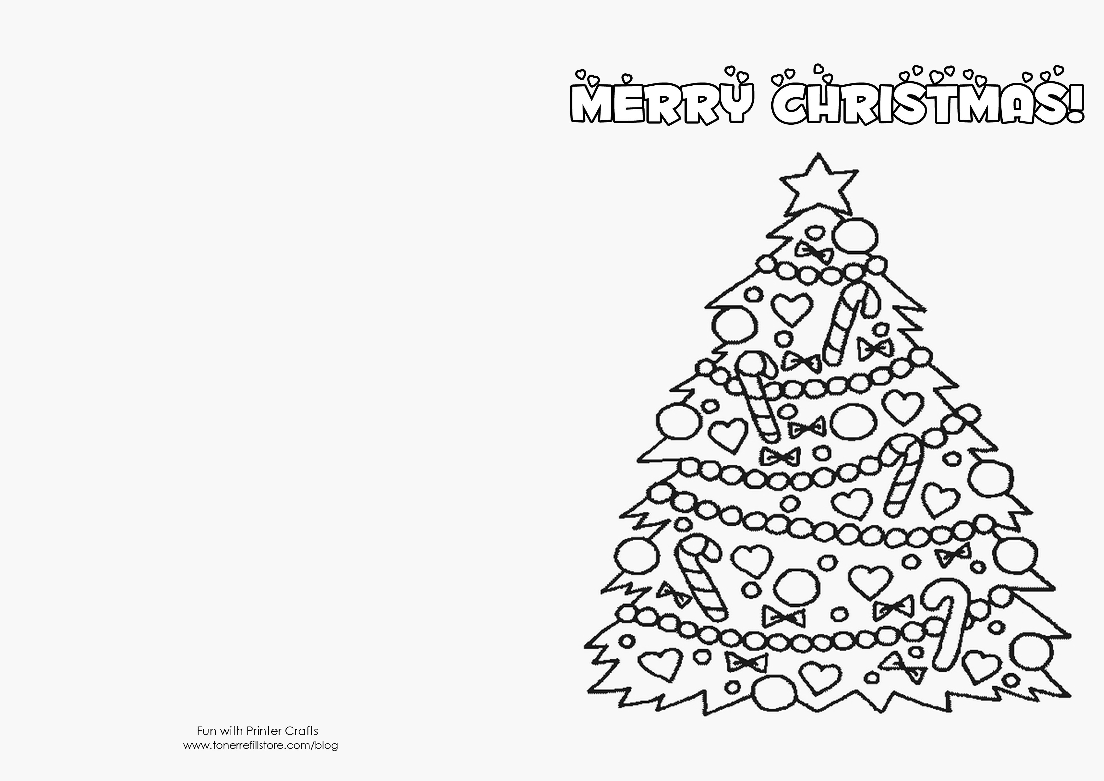 Christmas Coloring Card Printable With Pictures For Kids To Color Free Merry
