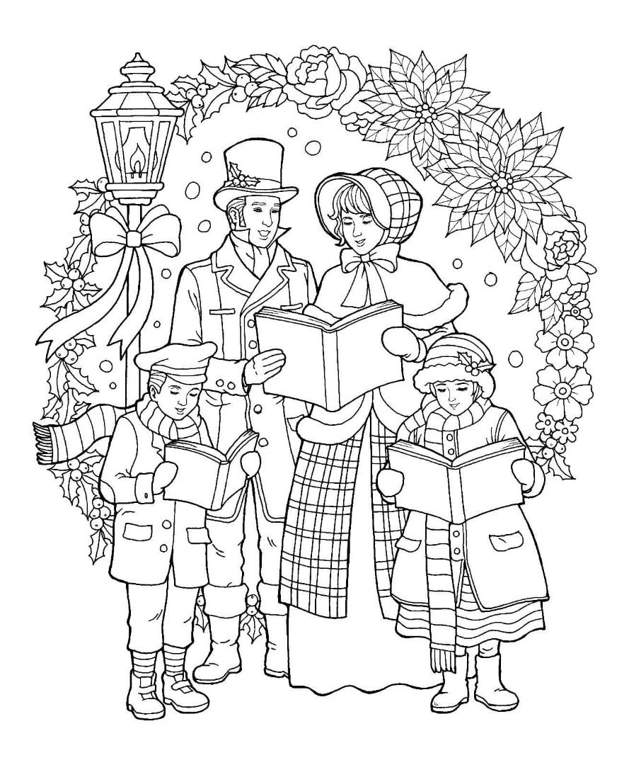 Christmas Coloring Card With 12 Free Pages Drawings