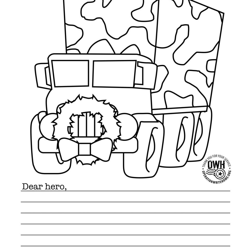 Christmas Coloring Card With FREE Military Pages For Operation Write Home