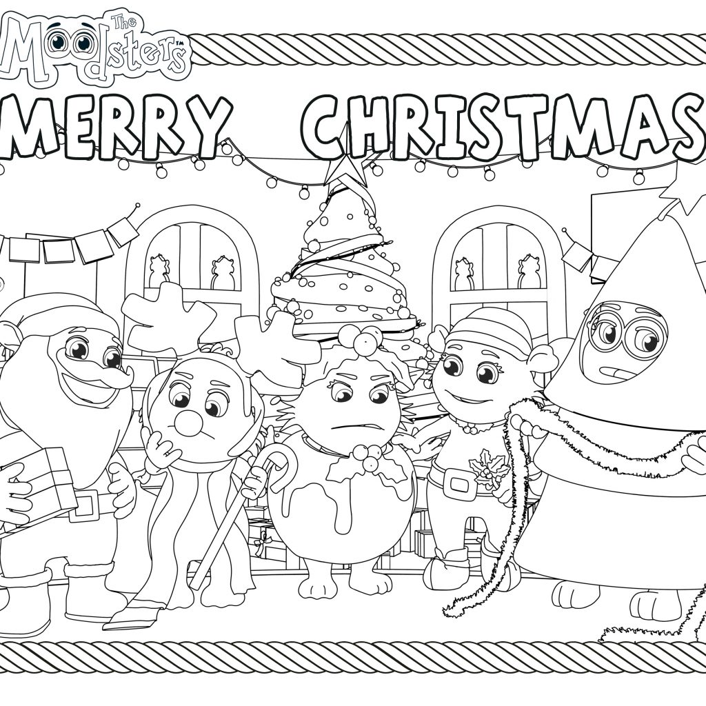 Christmas Coloring Card With Merry From The Moodsters
