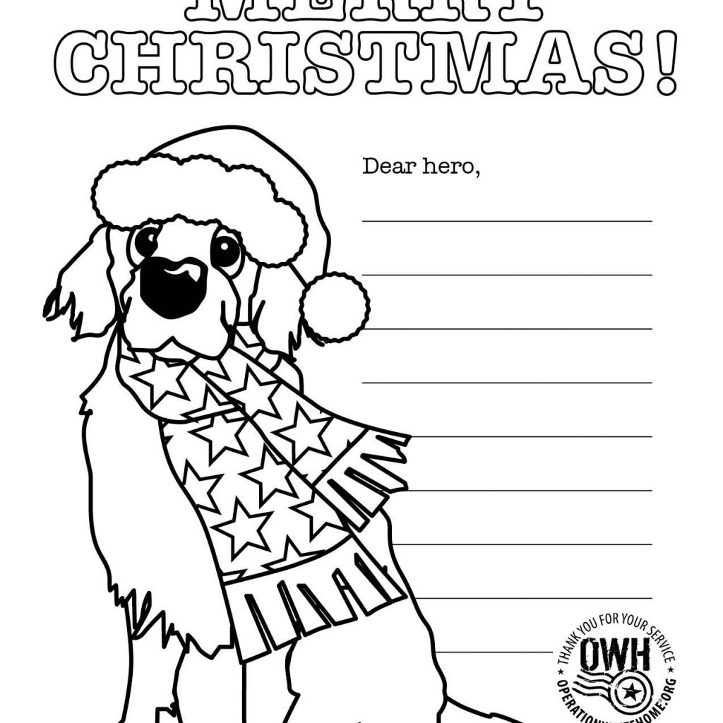 Christmas Coloring Card With Military Pages