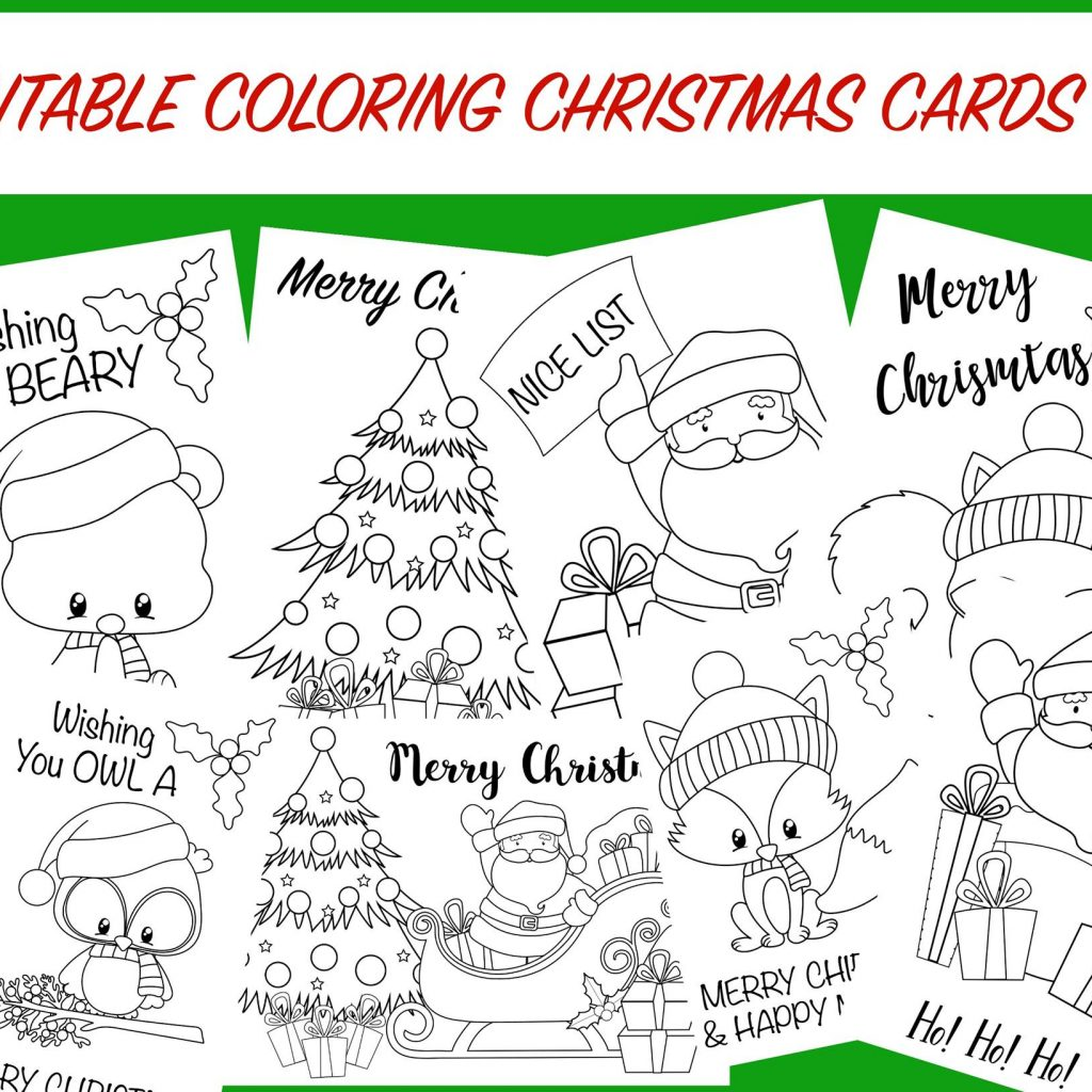 Christmas Coloring Cards For Adults With Free Printable Activity Kids