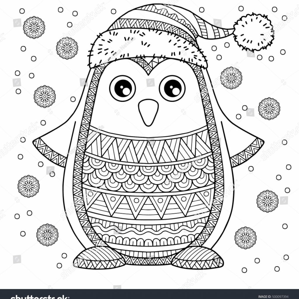 Christmas Coloring Cards For Adults With Merry Jolly Penguin The Detailed Pages
