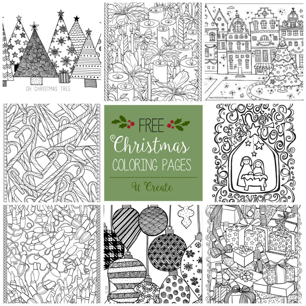 Christmas Coloring Cards Free With Adult Pages U Create