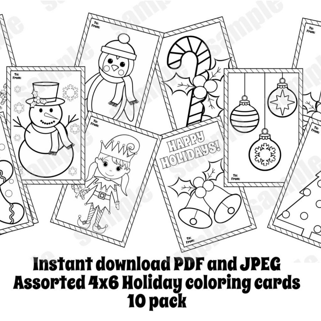 Christmas Coloring Cards Pdf With Assorted 10 Pack Pages 4×6 Etsy