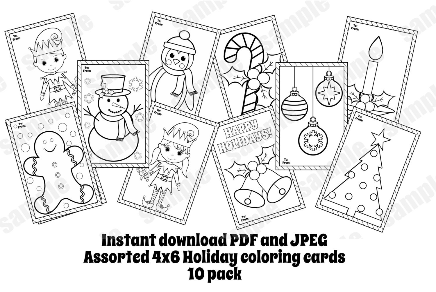 Christmas Coloring Cards Pdf With Assorted 10 Pack Pages 4x6 Etsy