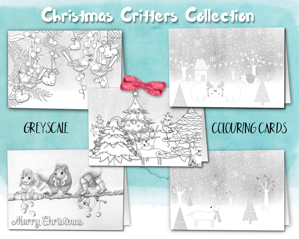 Christmas Coloring Cards Pdf With Critters Colouring Pack Of 10 Printable PDF