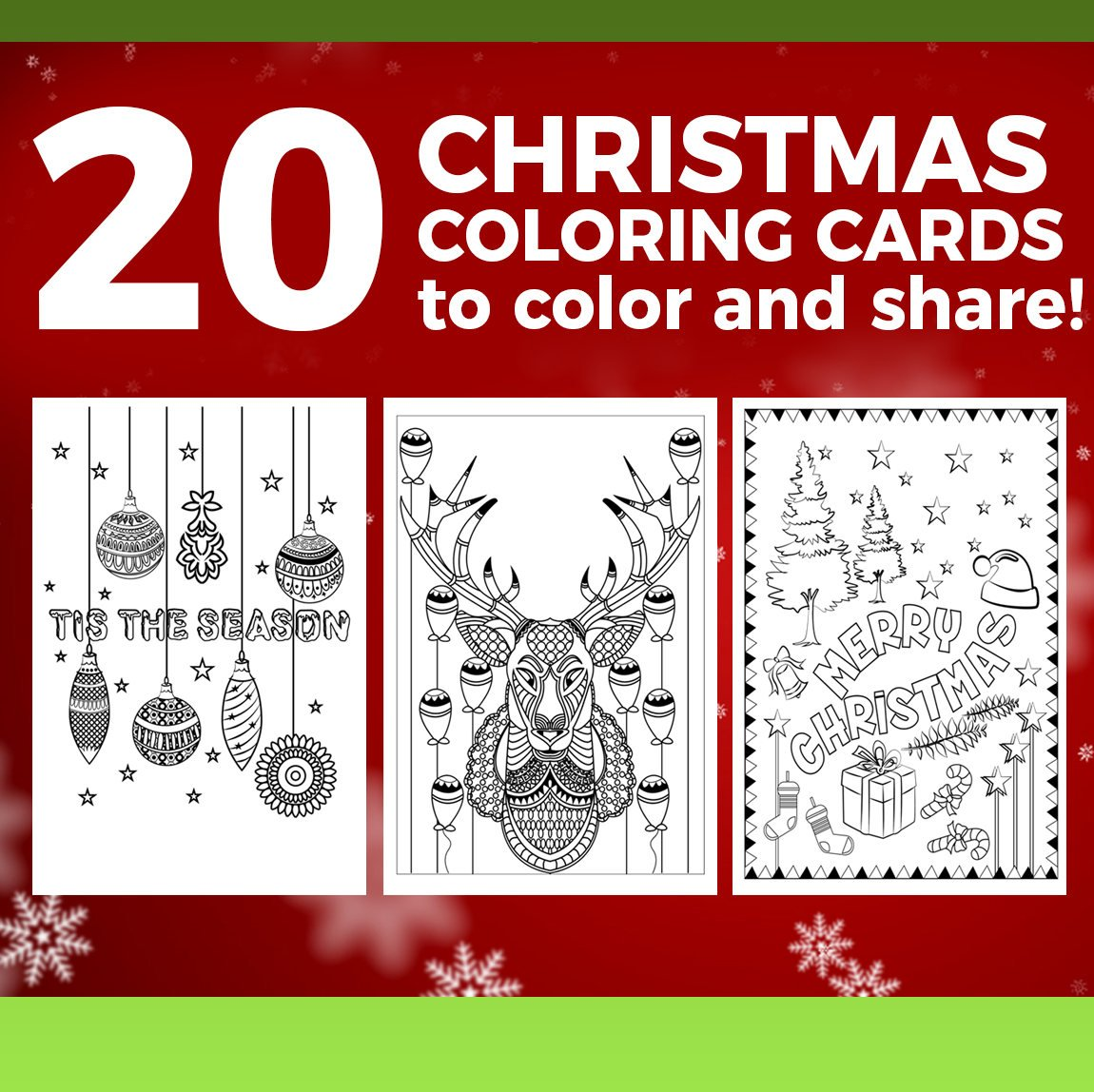 Christmas Coloring Cards Pdf With INSTANT DOWNLOAD 20 Handmade Printable Etsy