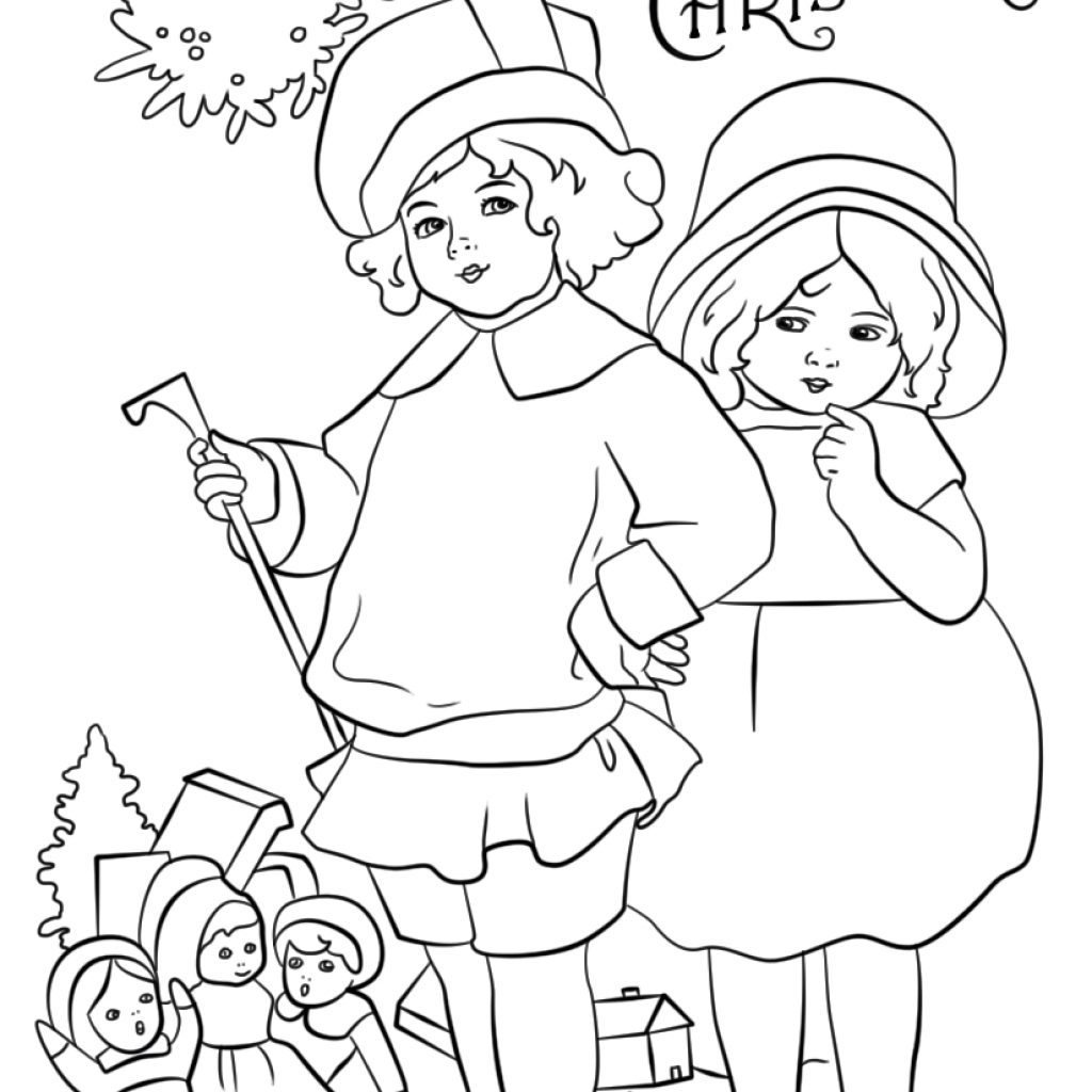 Christmas Coloring Cards Printable Free With Victorian Card Page Pages