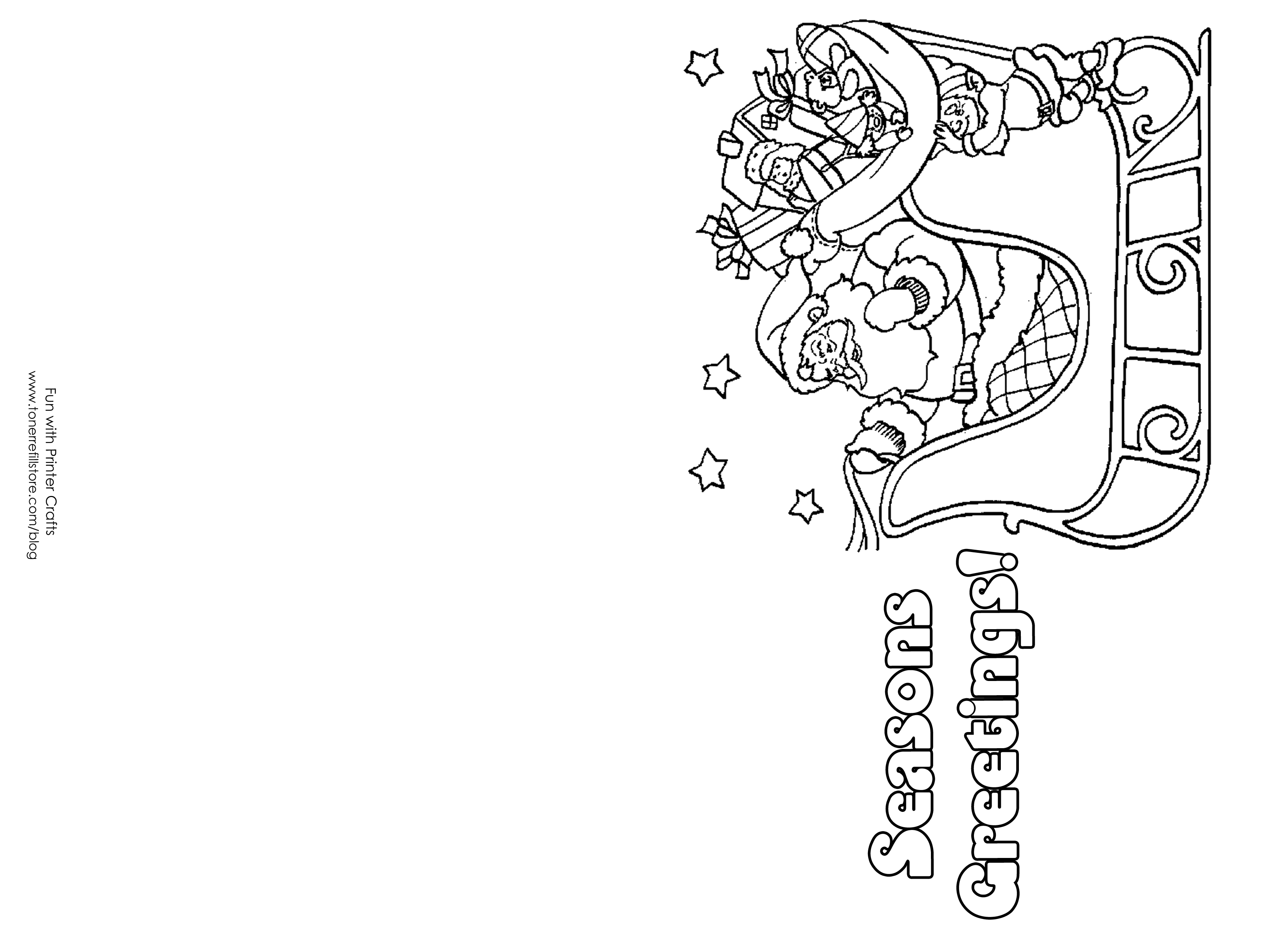 Christmas Coloring Cards Printable With For Kids Pages