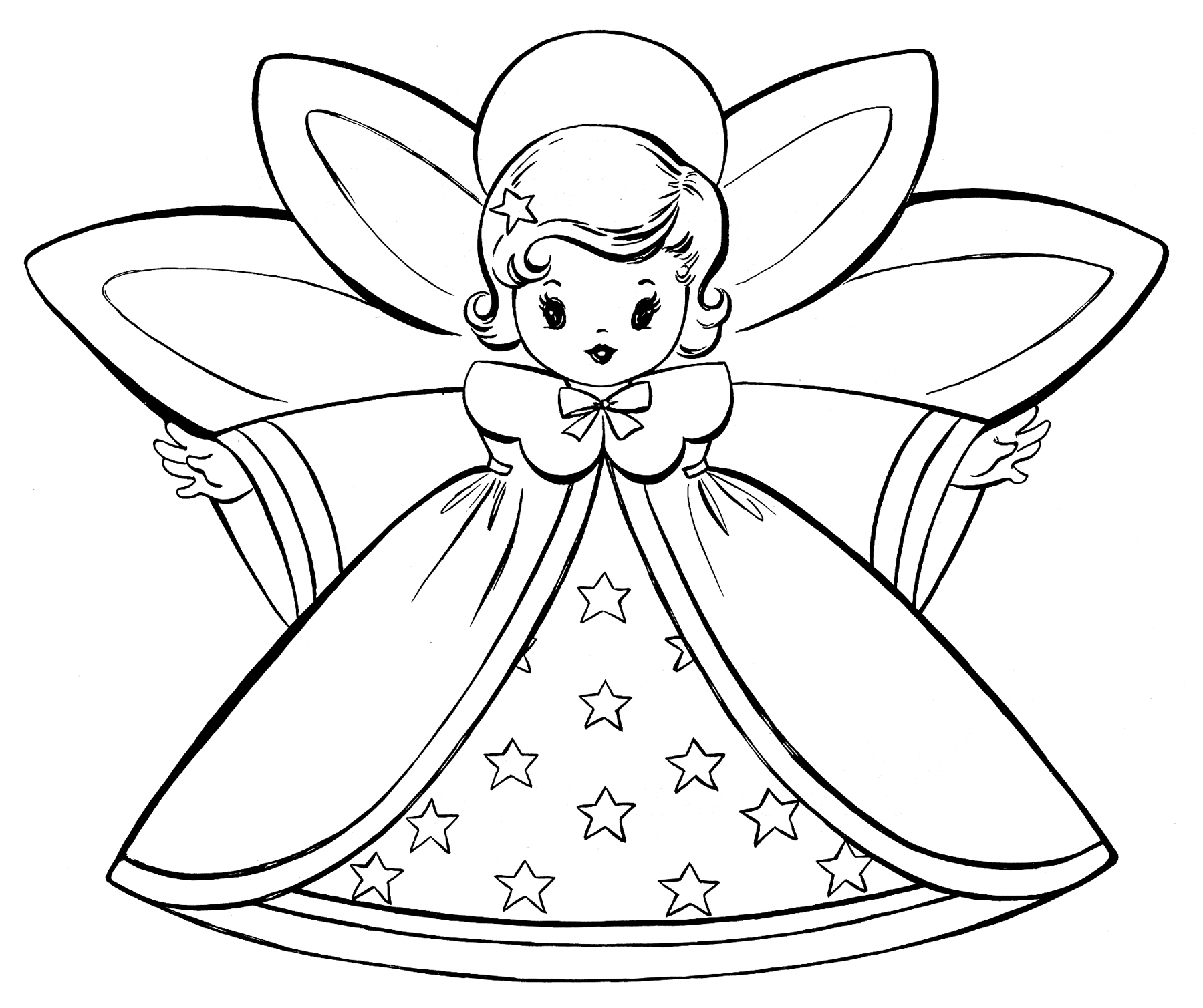 Christmas Coloring Cards Printable With Free Pages Retro Angels The Graphics Fairy