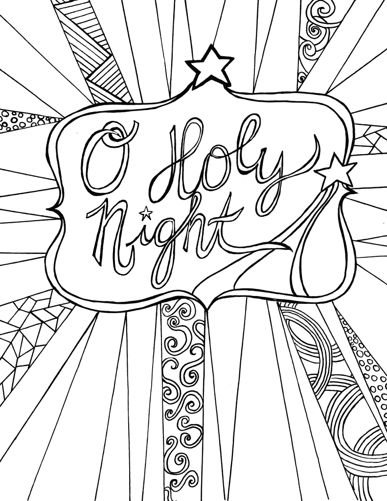 Christmas Coloring Cards Printable With O Holy Night Free Adult Sheet Day Care Stuff