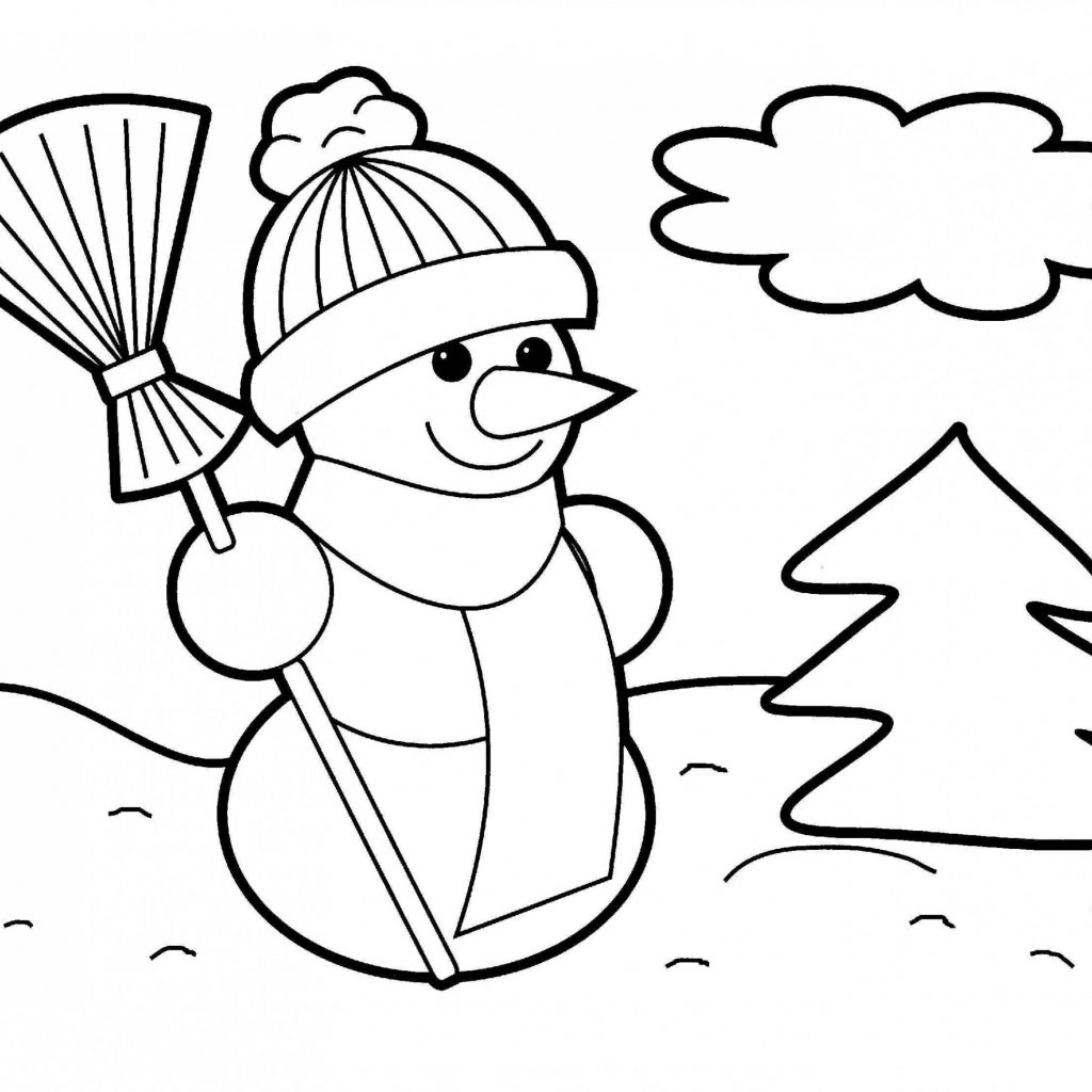 Christmas Coloring Cards With Cute Snowman Pages Merry New