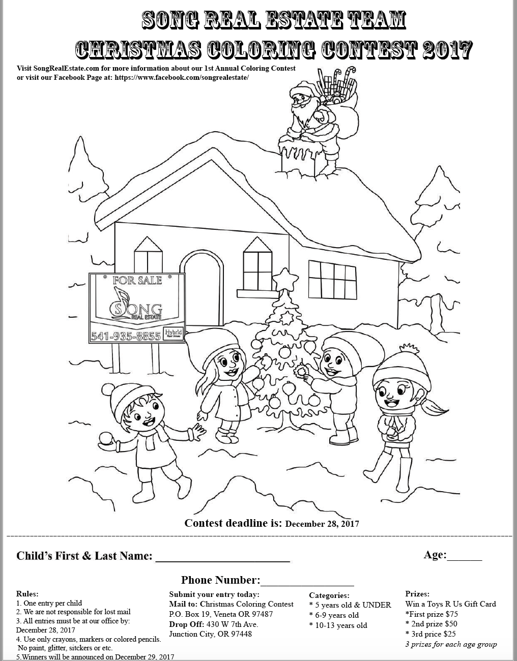 Christmas Coloring Contest With 1st Annual 2017 Song Real Estate Team Eugene