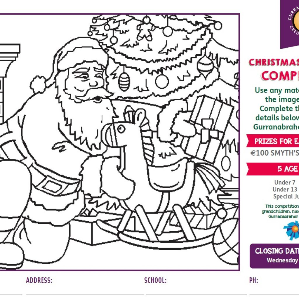 Christmas Coloring Contest With Gurranabraher Credit Union Childrens Colouring Competition