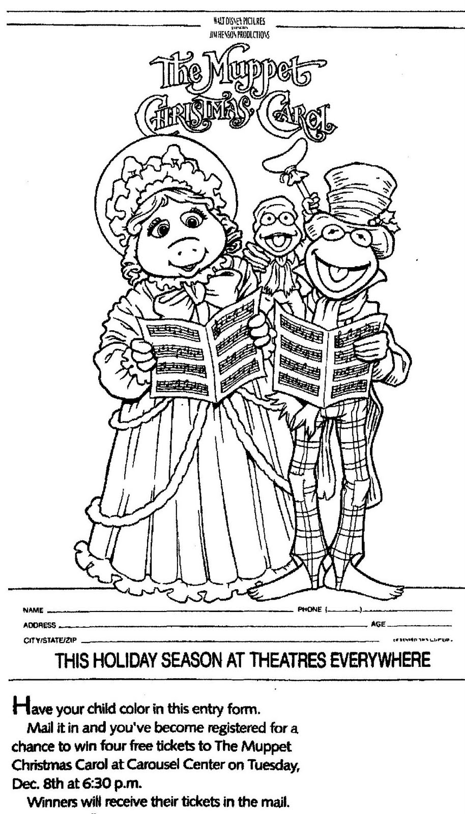 Christmas Coloring Contest With Mostly Paper Dolls THE MUPPET CHRISTMAS CAROL Movie