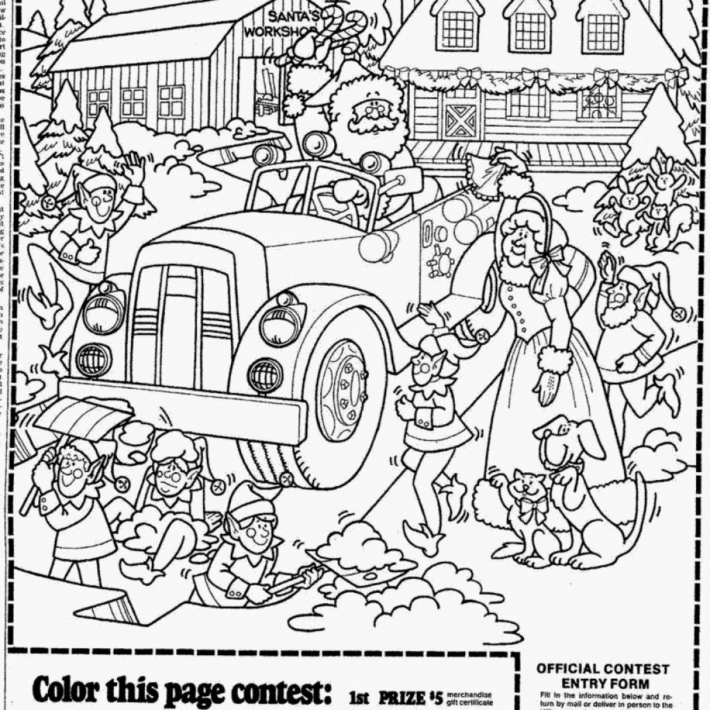 Christmas Coloring Contest With Presents Pages Page Outline Cartoon Girl