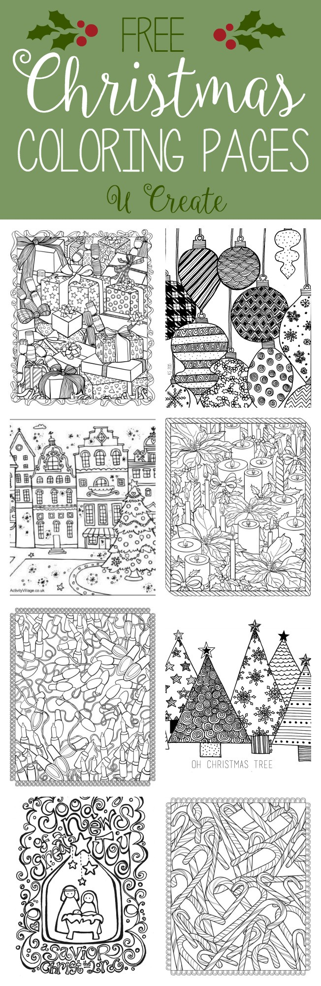 Christmas Coloring Crafts Printables With Free Adult Pages U Create