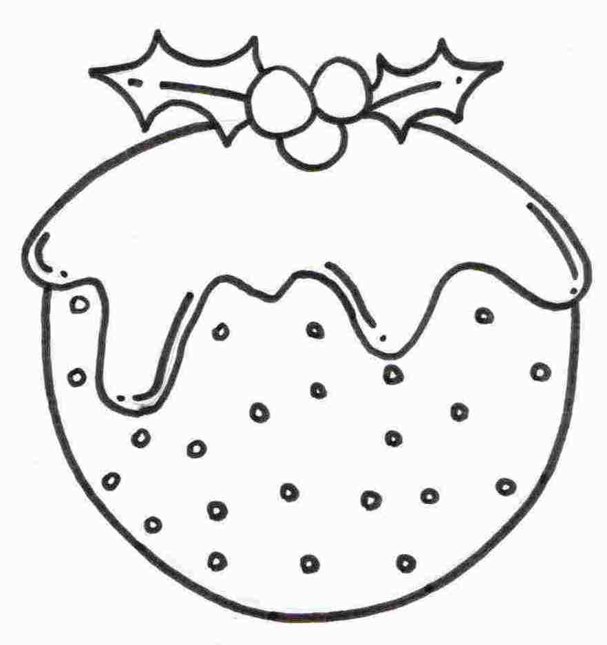 Christmas Coloring Designs With Pudding Pictures To Colour Pages