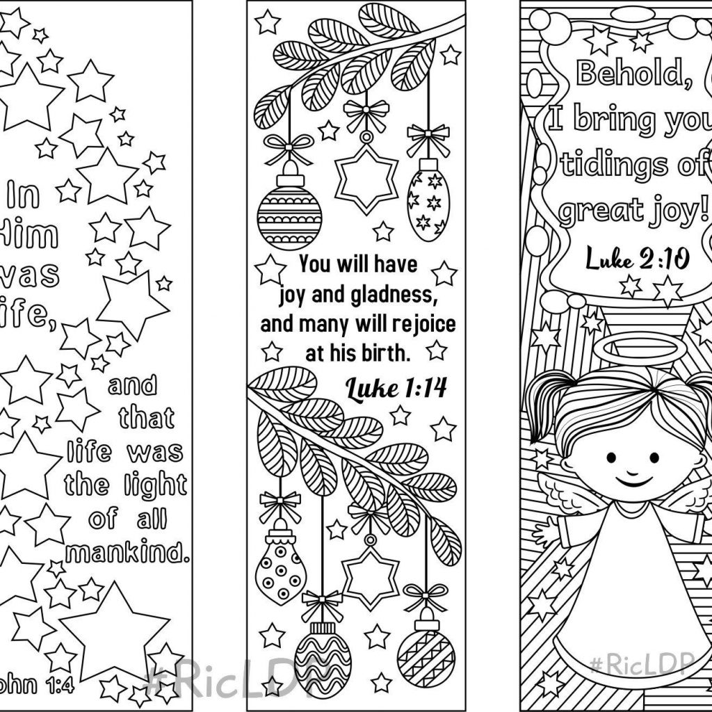 Christmas Coloring Designs With Set Of 9 Bookmarks 6 Bible Verses And 3