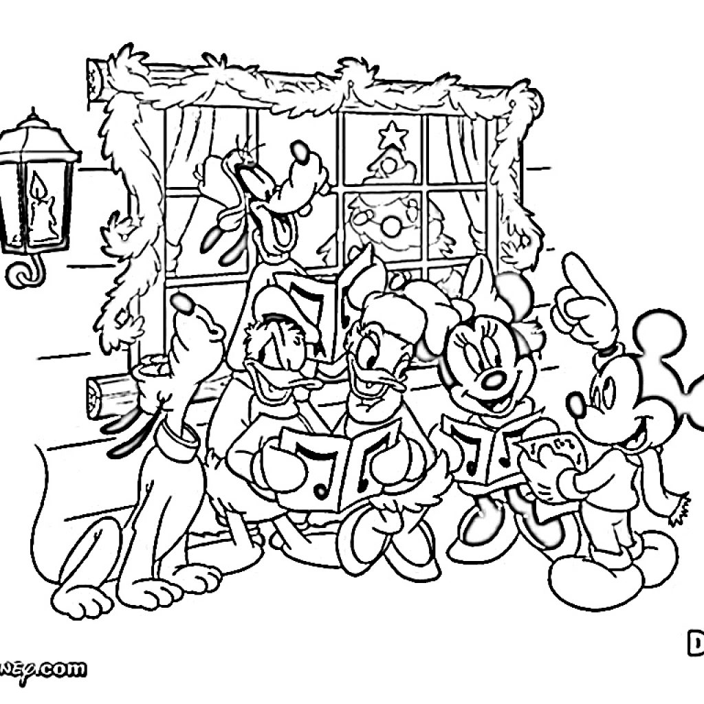 Christmas Coloring Disney With Mickey Mouse Page All Family Of