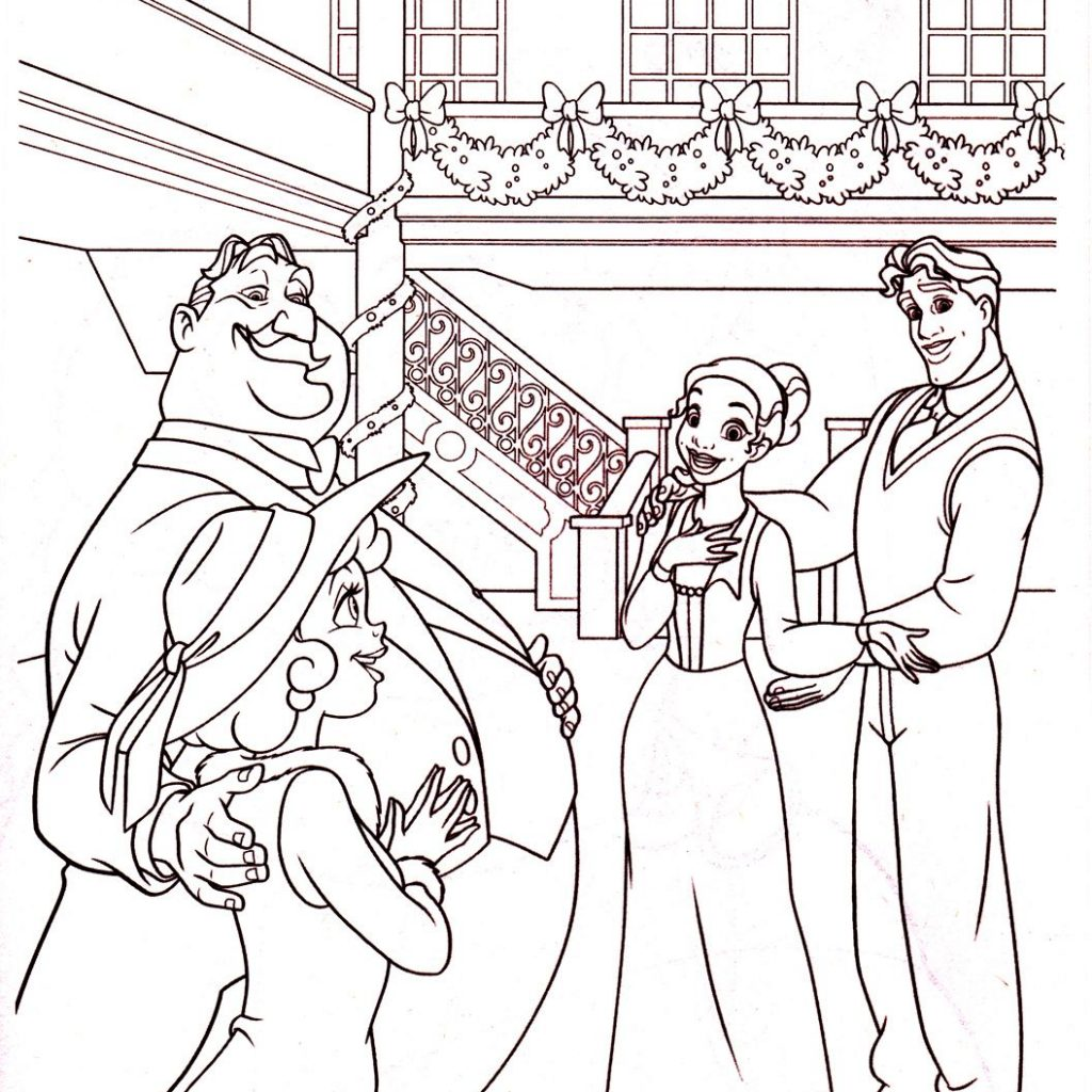 Christmas Coloring Disney With Princess And The Frog Page