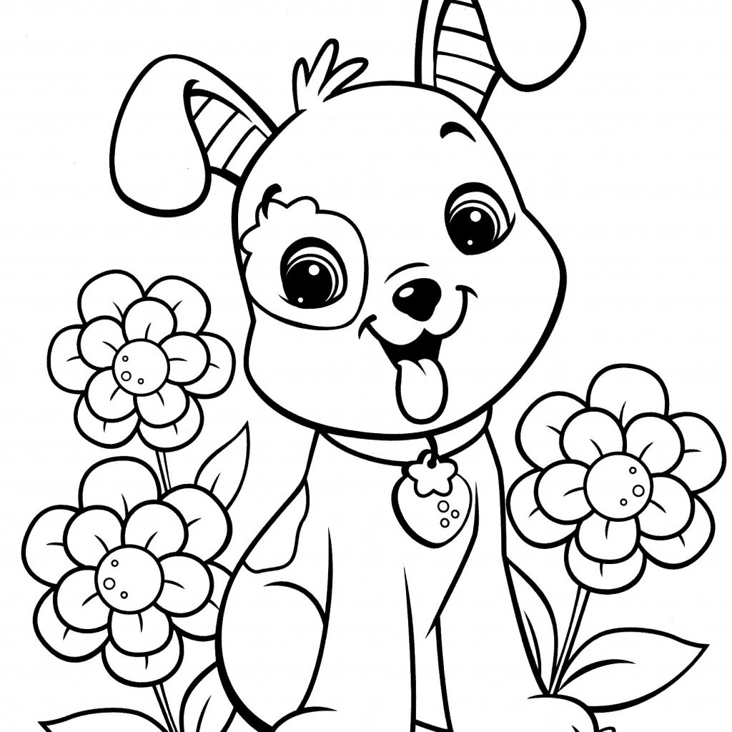 Christmas Coloring Dog With Cartoon Kids Page 4