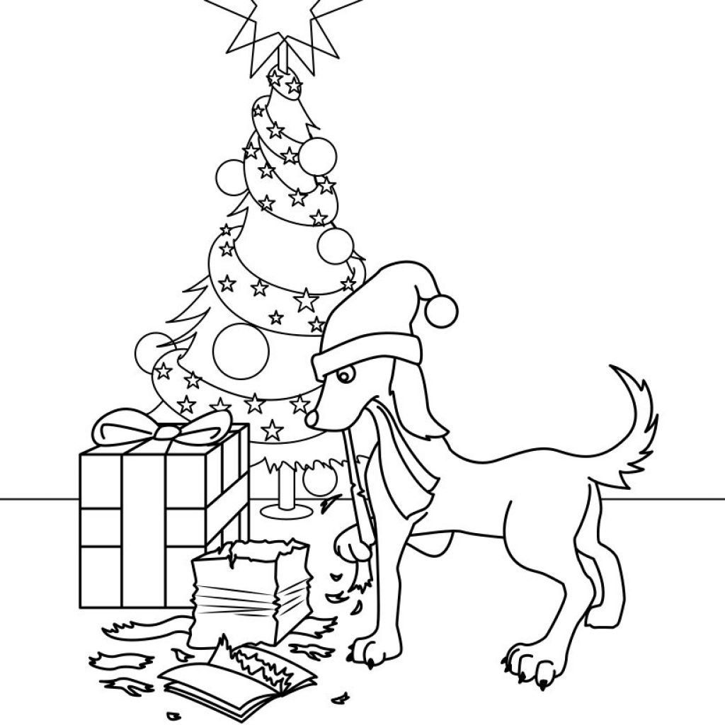 Christmas Coloring Dog With Gifts Pages Hellokids Com