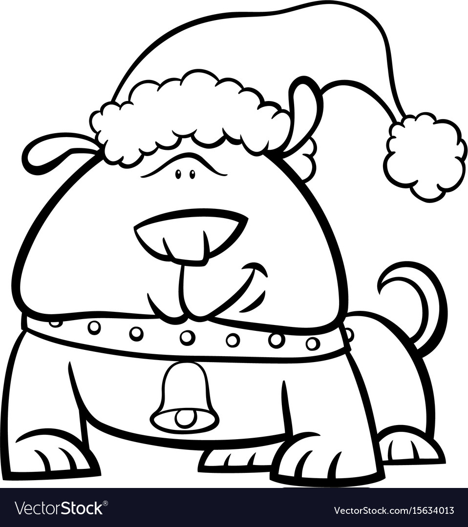 Christmas Coloring Dog With On Book Royalty Free Vector Image