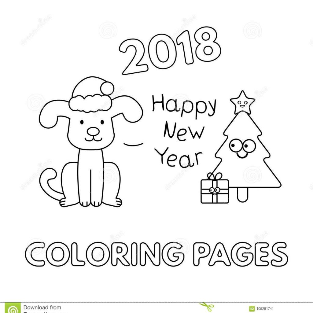 Christmas Coloring Dog With Pages Cartoon Stock Vector