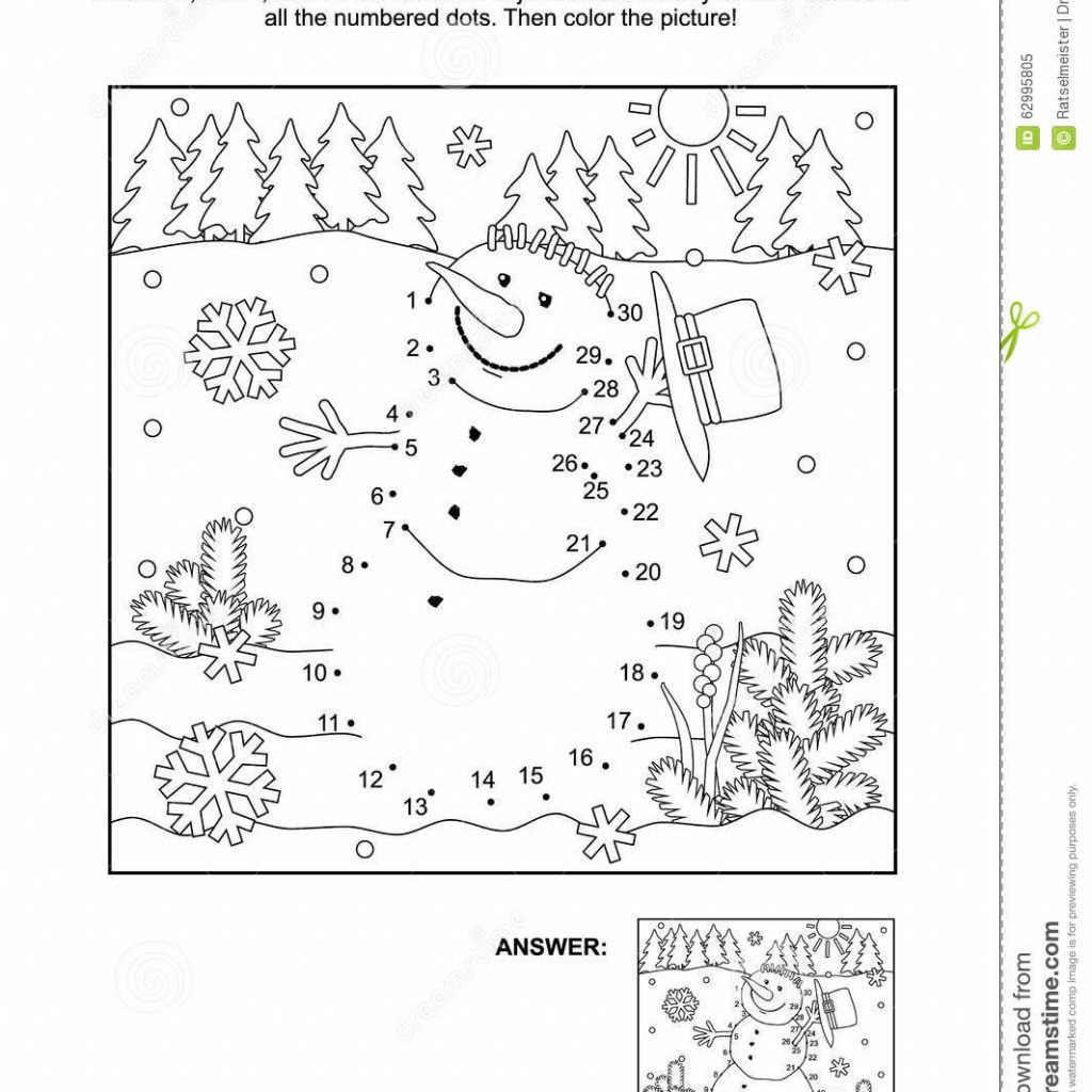 Christmas Coloring Dot To With And Page Snowman Stock Vector Illustration