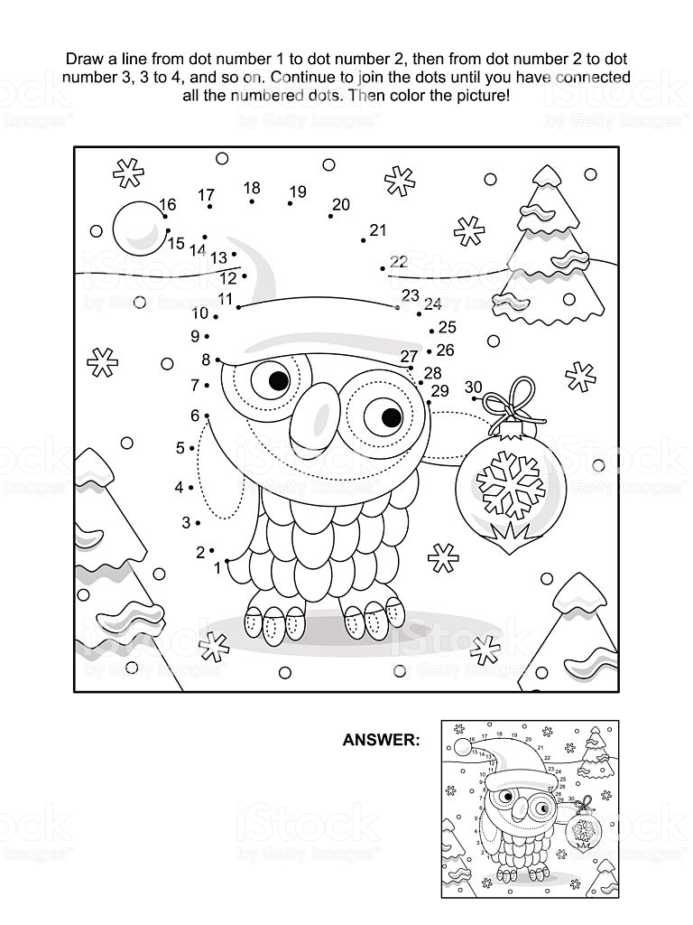 Christmas Coloring Dot To With Dottodot And Page Owl Stock Vector Art