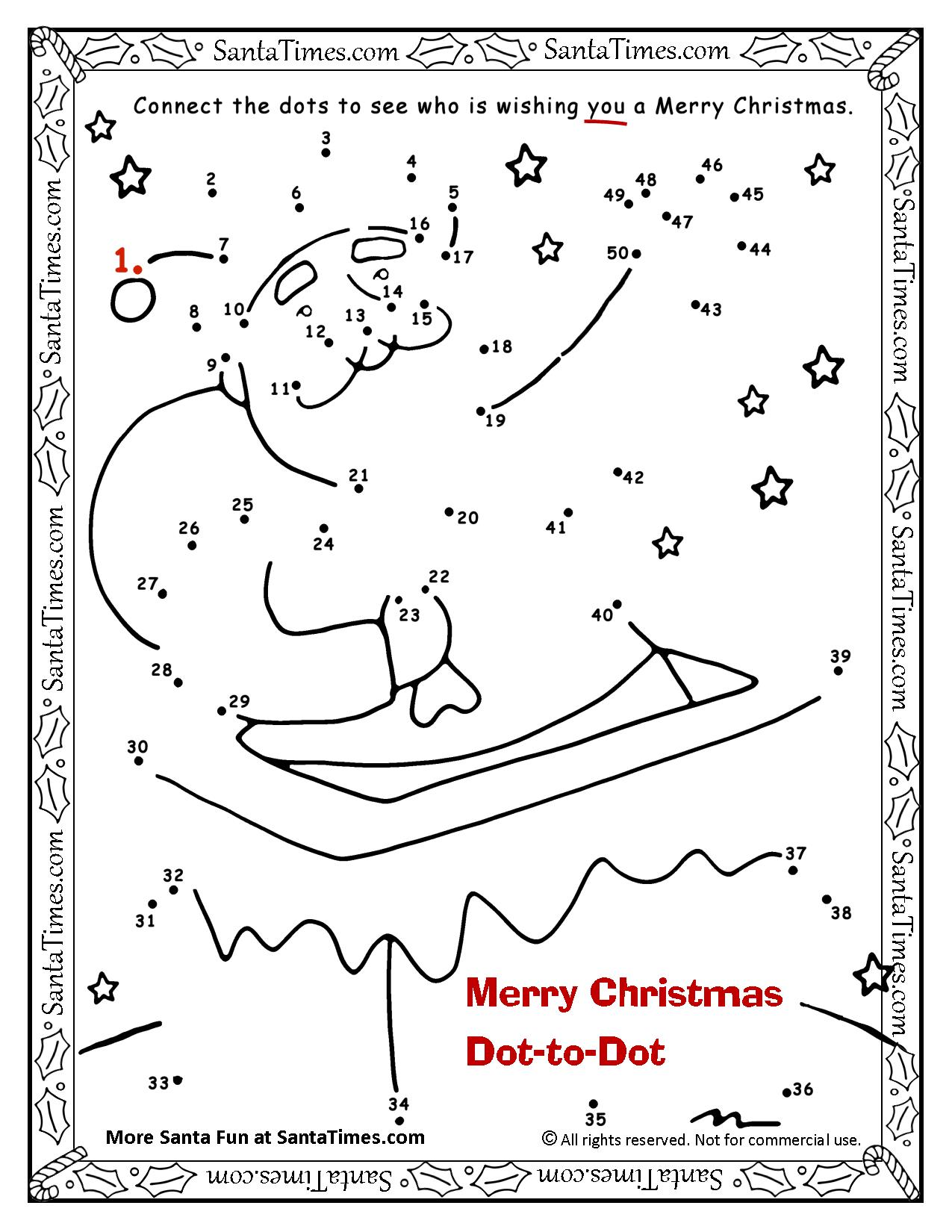 Christmas Coloring Dot To With Merry