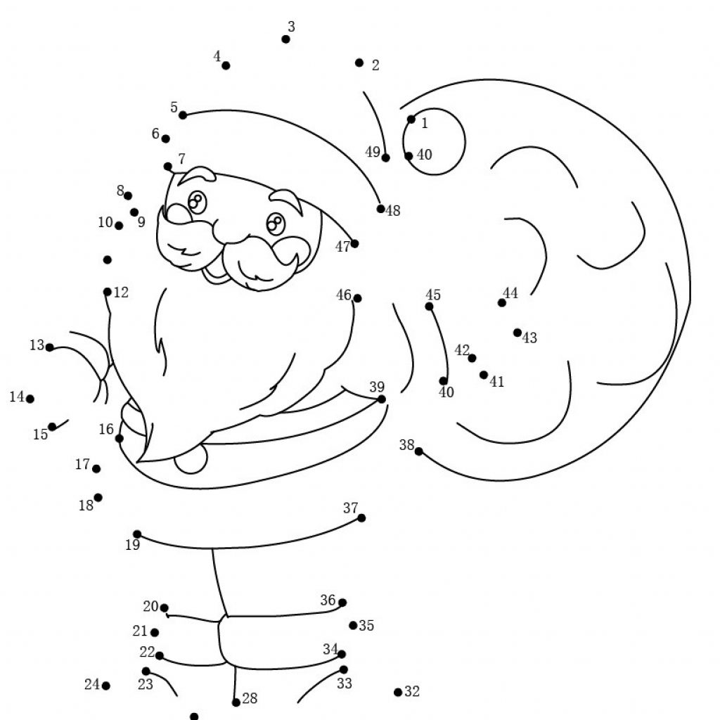 Christmas Coloring Dot To With Sack Pages Hellokids Com