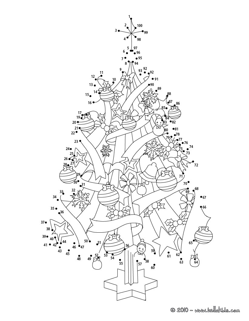 Christmas Coloring Dot To With Tree Pages Hellokids Com