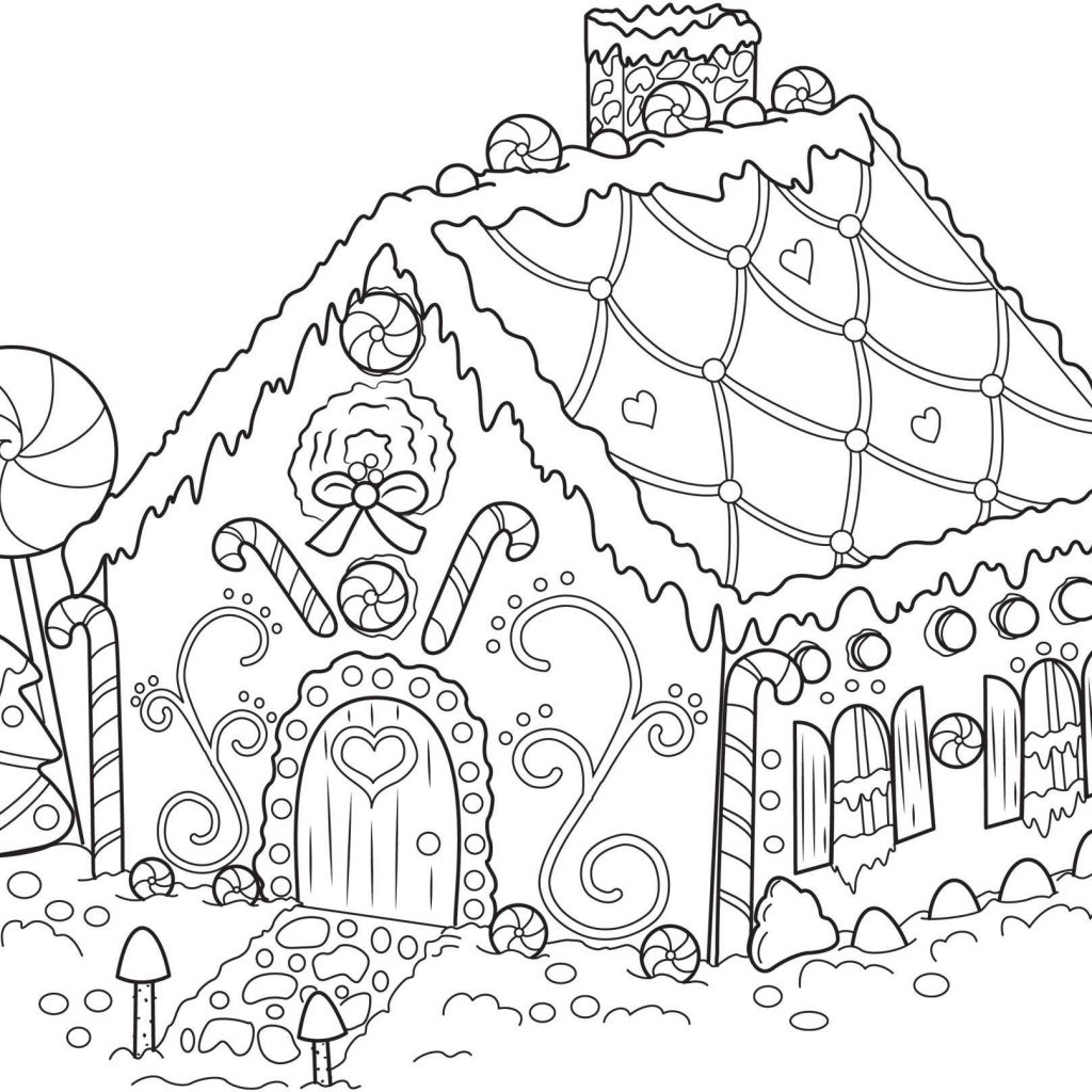 Christmas Coloring Downloads With Gingerbread House Pages Collection Play Learn