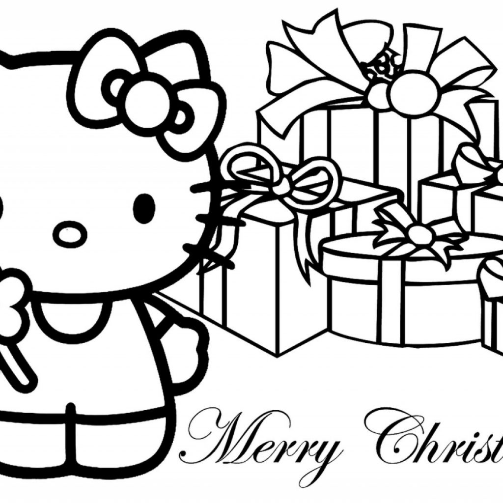 Christmas Coloring Downloads With Hello Kitty Merry Pages 1280×867 Download