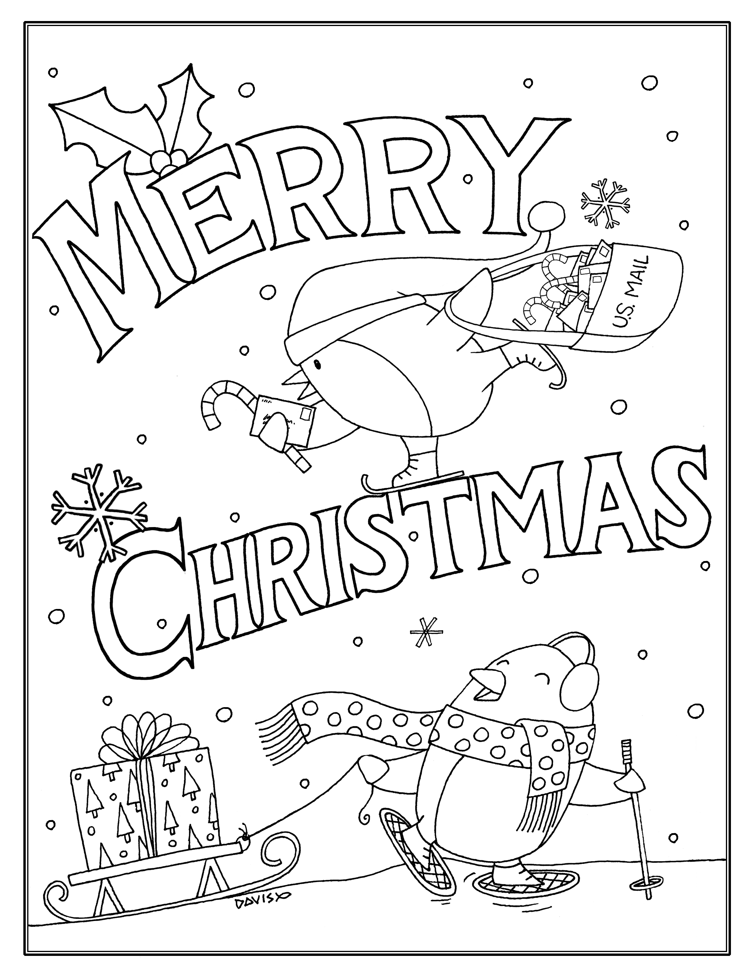 Christmas Coloring Downloads With Page Download Draw Rich