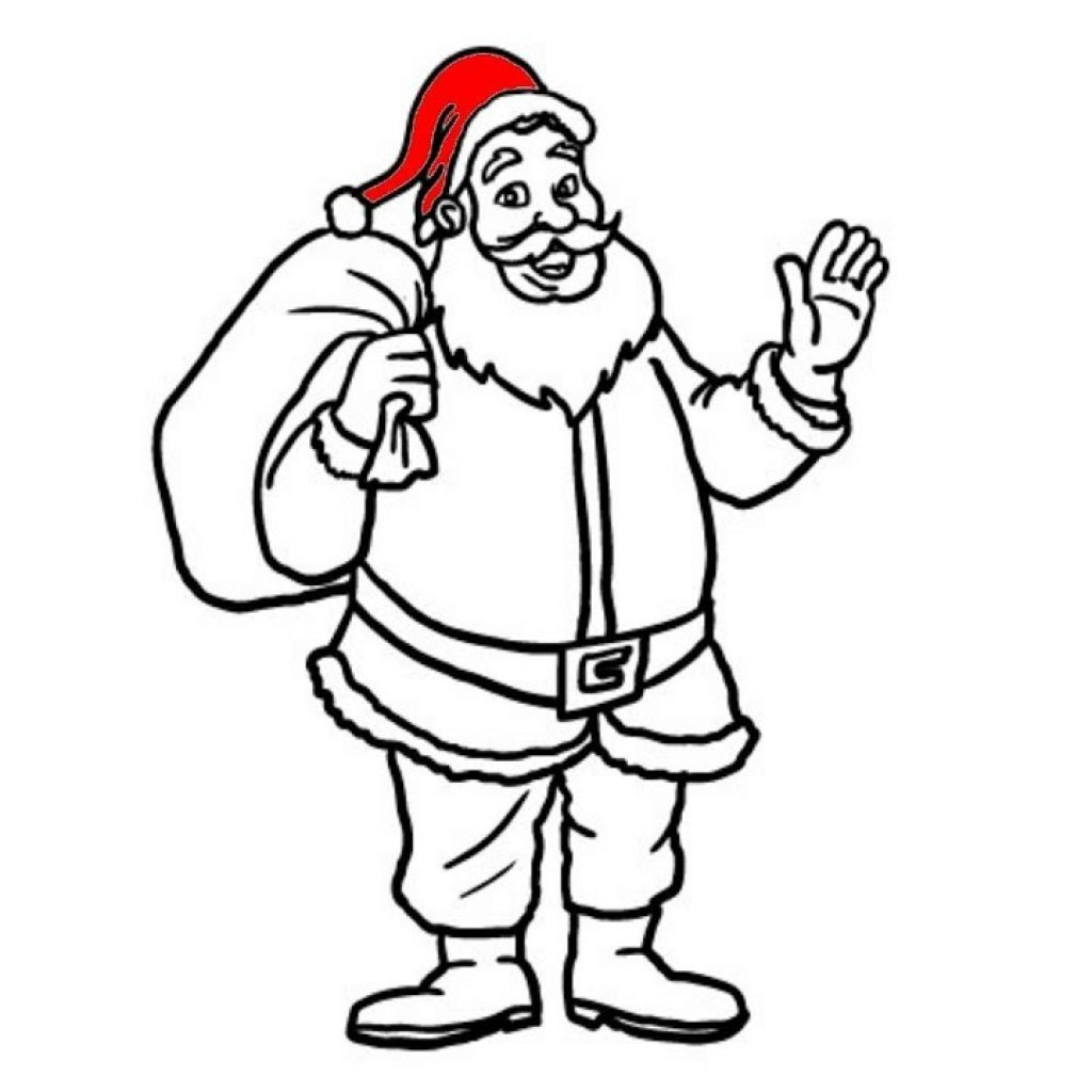 Christmas Coloring Easy With Simple Pages For Kids How To Draw Santa Clause