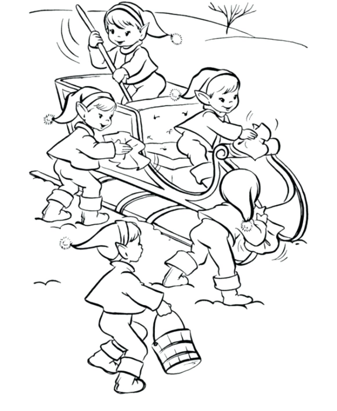 Christmas Coloring Elf Pages With Cute Elves