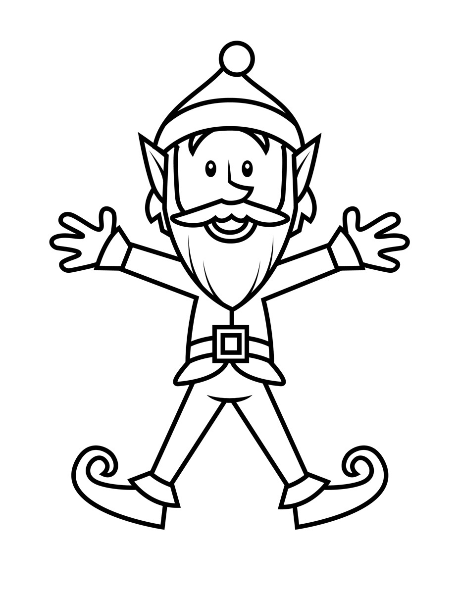 Christmas Coloring Elf Pages With Free Printable For Kids