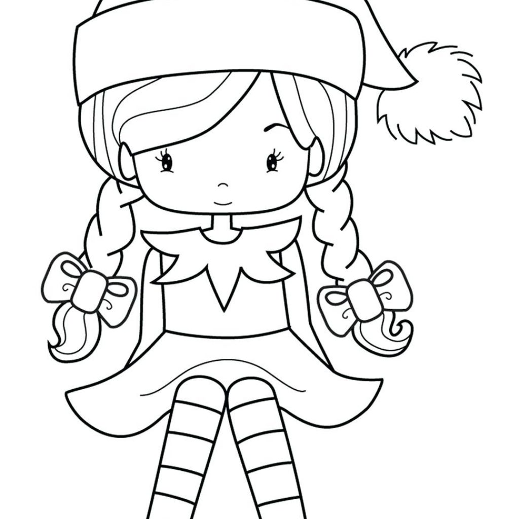 Christmas Coloring Elf With Cute Pages Elves