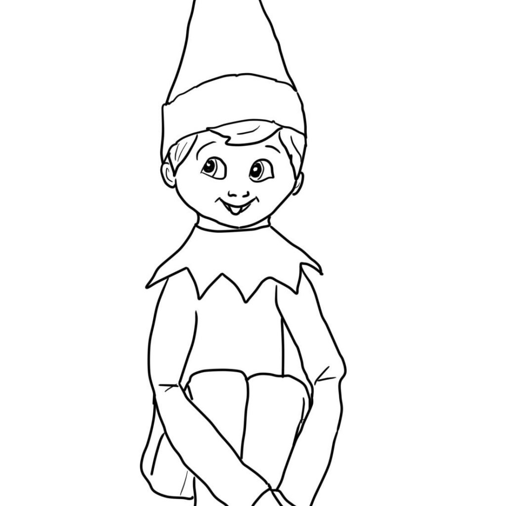 Christmas Coloring Elf With Girl On The Shelf Pages You Might Also Be Interested