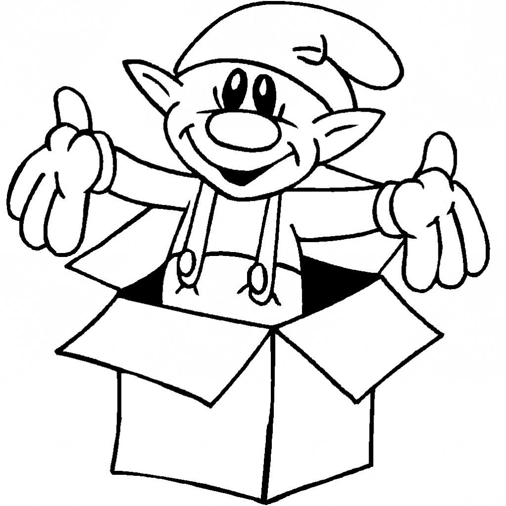 Christmas Coloring Elf With Pages