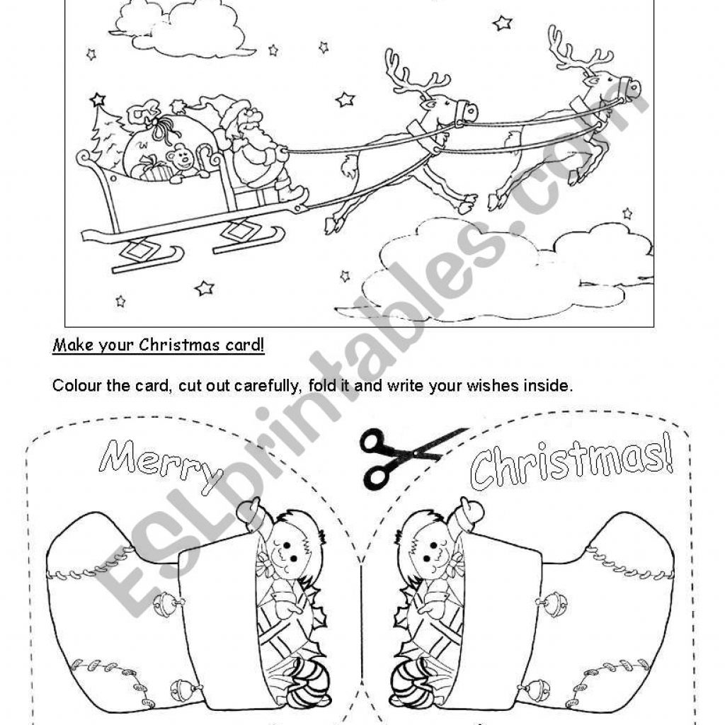 Christmas Coloring Esl With Card 1 ESL Worksheet By Adelebs