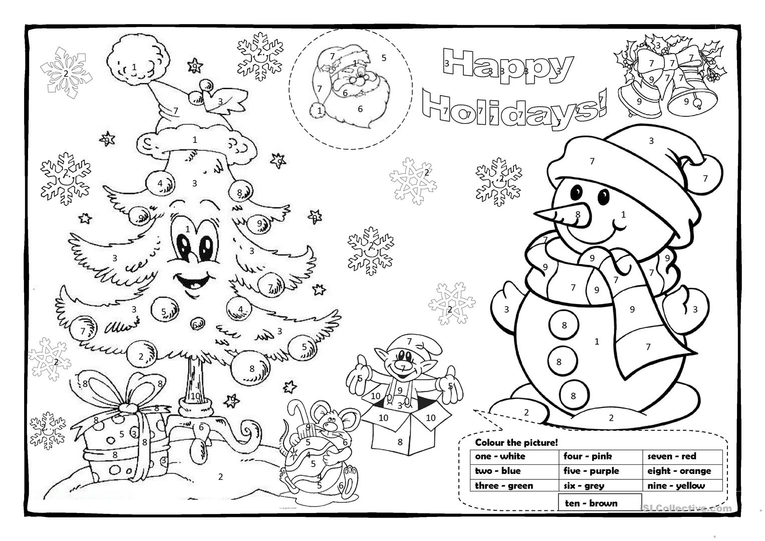 Christmas Coloring Esl With Colouring 1 Worksheet Free ESL Printable Worksheets