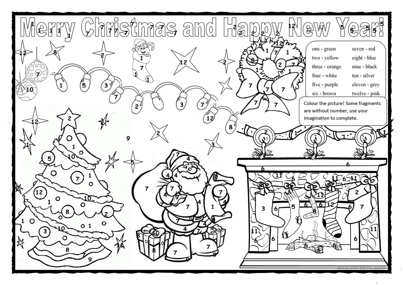 Christmas Coloring Esl With Colouring 2 Worksheet Free ESL Printable Worksheets