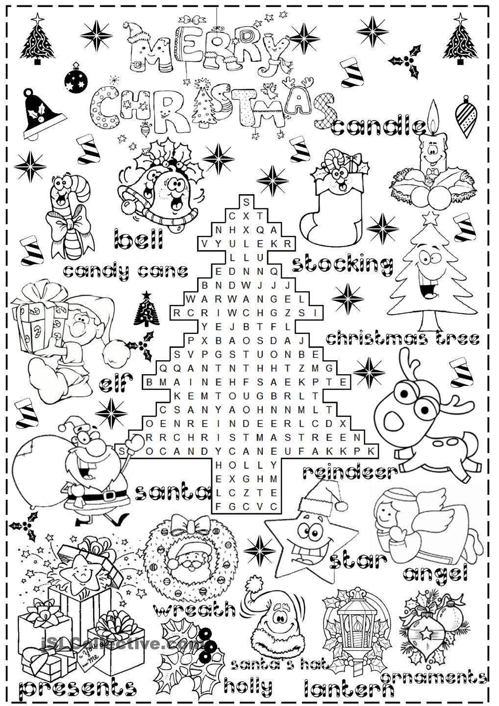 Christmas Coloring Esl With Merry Pinterest English And Worksheets